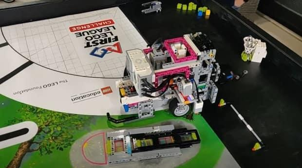 The team's robot is shown in a screenshot from taken from a video.