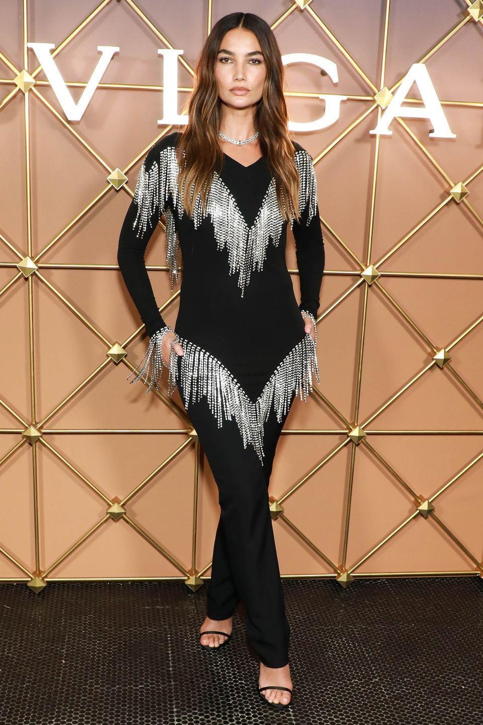 <p><strong>8 September</strong></p><p>Lily Aldridge dressed up in a shimmering fringed top for the Bulgari party at New York Fashion Week. </p>