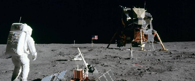 Buzz Aldrin looks back at Apollo 11's Lunar Module