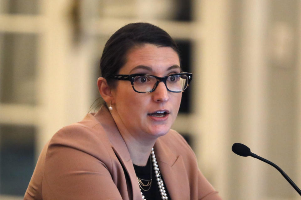 U.S. Soccer chief legal officer Lydia Wahlke attends a meeting of the organization's board of directors Friday, Dec. 6, 2019, in Chicago. (AP Photo/Charles Rex Arbogast)