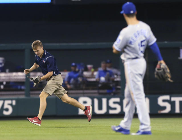 <p>A Busch Stadium grounds crew members carries a small cat that had across the outfield during the sixth inning of a baseball game between the St. Louis Cardinals and the Kansas City Royals on Wednesday, Aug. 9, 2017, at Busch Stadium in St. Louis. (Chris Lee/St. Louis Post-Dispatch via AP) </p>