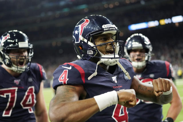Houston Texans quarterback Deshaun Watson (4) celebrates after he scored a touchdown against the New England Patriots during the second half of an NFL football game Sunday, Dec. 1, 2019, in Houston. (AP Photo/David J. Phillip)