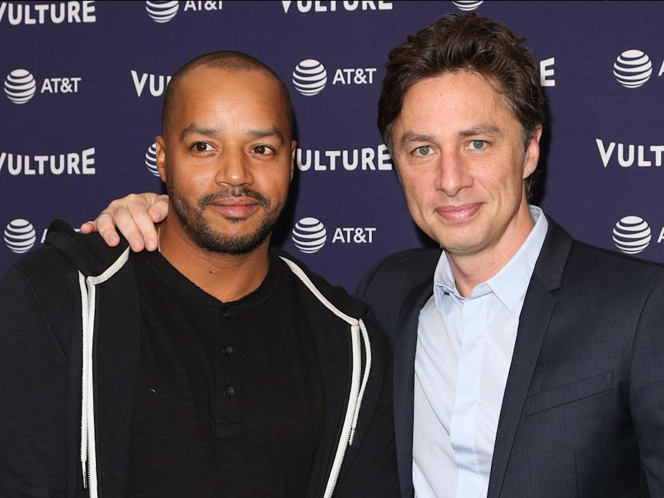 Scrubs' Donald Faison (left) and Zach Braff present Fake Doctors, Real FriendsGetty Images