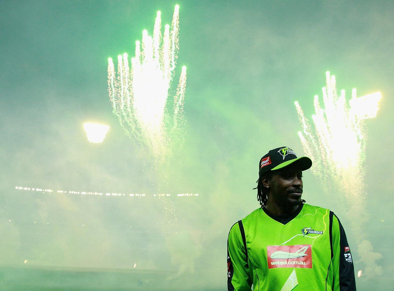MELBOURNE, AUSTRALIA - JANUARY 08:  Chris Gayle of the Thunder looks on during the Big Bash League match between the Melbourne Stars and the Sydney Thunder at Melbourne Cricket Ground on January 8, 2013 in Melbourne, Australia.  (Photo by Robert Prezioso/Getty Images)