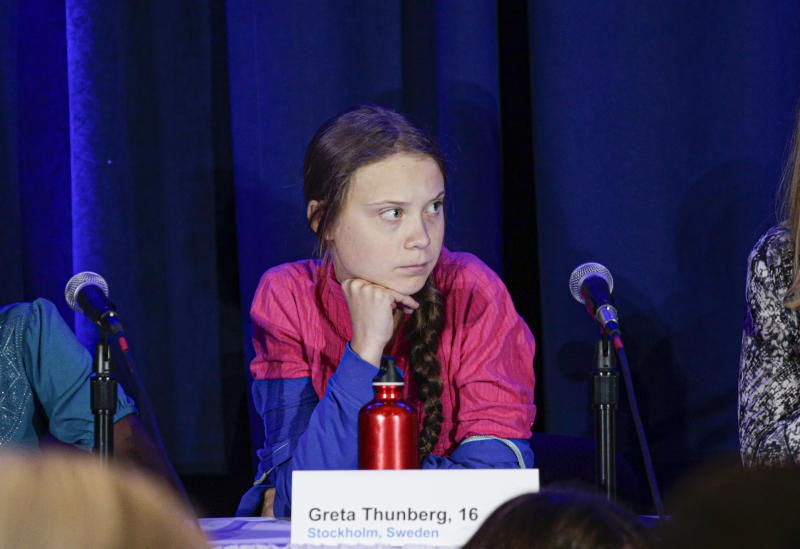 Activist Greta Thunberg attends a press conference where 16 children from across the world, present their official human rights complaint on the climate crisis to the United Nations Committee on the Rights of the Child at the UNICEF Building on September 23, 2019 in New York City. (Photo by Kena Betancur / AFP) (Photo credit should read KENA BETANCUR/AFP/Getty Images)