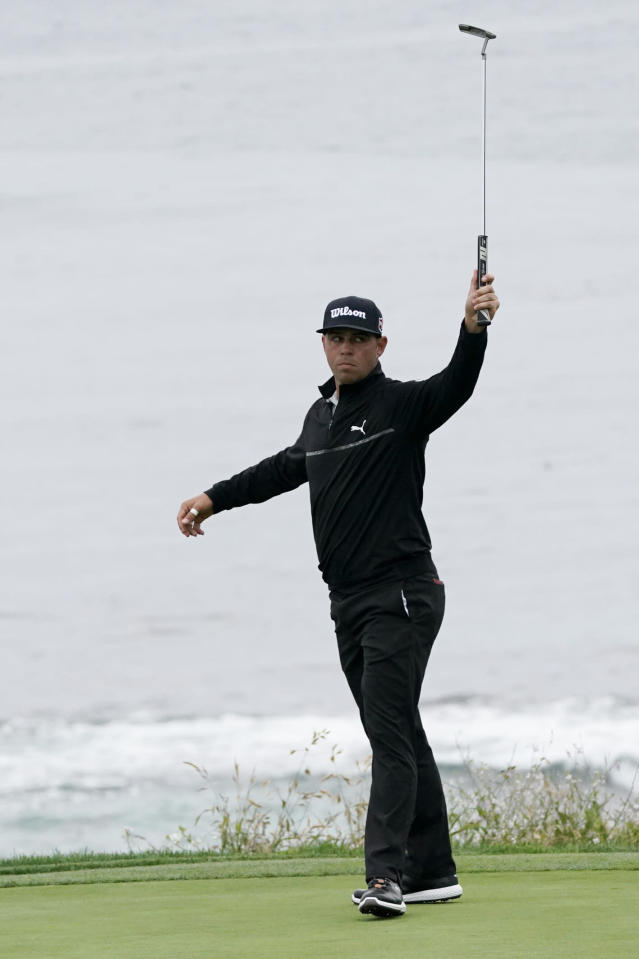 Gary Woodland reacts after making a birdie on the ninth hole during the second round of the U.S. Open golf tournament, Friday, June 14, 2019, in Pebble Beach, Calif. (AP Photo/Carolyn Kaster)