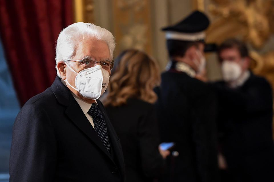 ROME, ITALY - JANUARY 27: Italian President Sergio Mattarella greets journalists before the consultations with political parties on the formation of the new government at the Palazzo del Quirinale (Quirinale Palace), on January 27, 2021 in Rome, Italy. Italy's president will begin discussions with political leaders on January 27, 2021 on forming a new government following the resignation of Prime Minister Giuseppe Conte. (Photo by Alessandro Di Meo/AM POOL/Getty Images) (Photo: AM POOL via Getty Images)