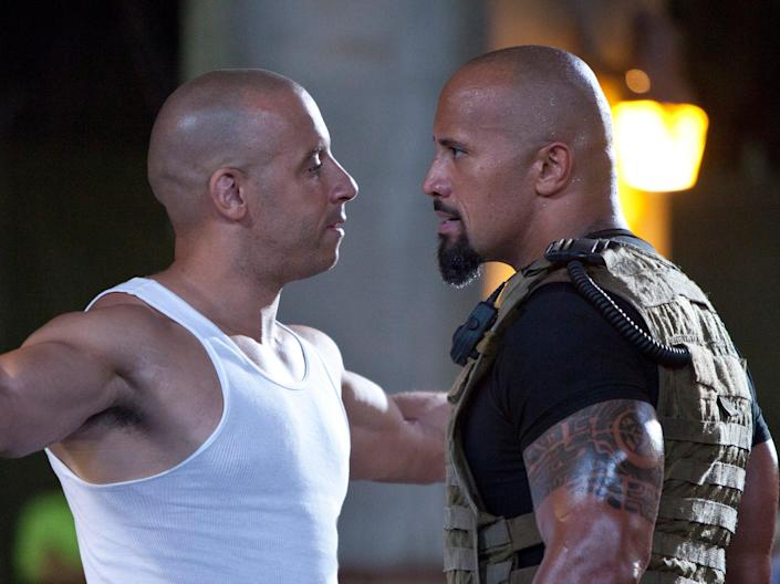 Facing off: Vin Diesel and Dwayne 'The Rock' Johnson square up in 'Fast Five' (2011 Universal Studios)