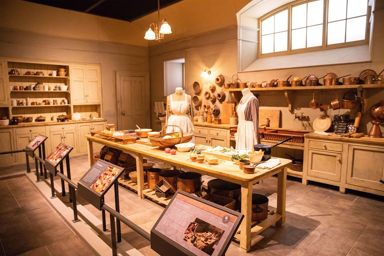At Biltmore's Amherst event space, guests can walk through a replica of Mrs. Patmore's bustling kitchen along with the servants' quarters. Visitors who also head to the Biltmore House might notice some stunning similarities to these areas in George Vanderbilt's real-life estate.