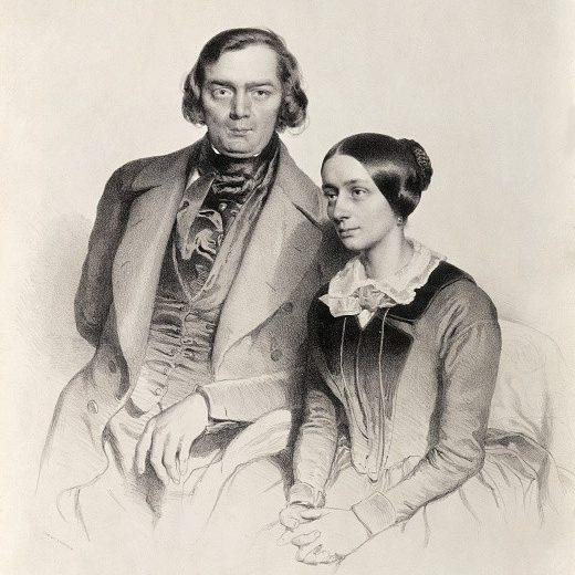 A lithograph of the composers Robert and Clara Schumann - Bettmann