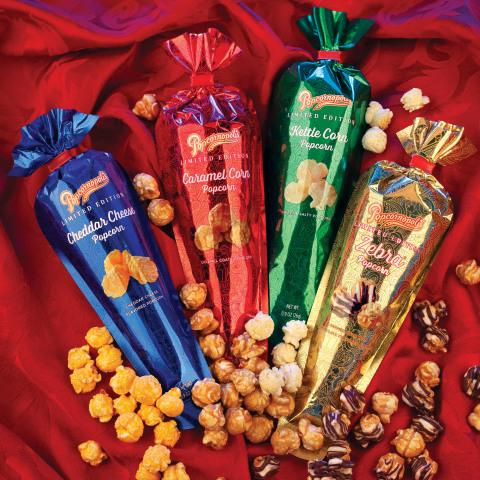 From the glimmering new Metallic Mini Cones to the elegantly packaged gift-baskets, Popcornopolis is sure to be at the top of everyone's wish list this holiday season. (Photo: Business Wire)