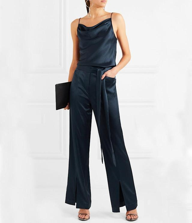 "<p>Draped Satin Jumpsuit $255, <a href=""https://www.net-a-porter.com/us/en/product/929393/Halston_Heritage/draped-satin-jumpsuit"" rel=""nofollow noopener"" target=""_blank"" data-ylk=""slk:net-a-porter.com"" class=""link rapid-noclick-resp"">net-a-porter.com</a> </p>"