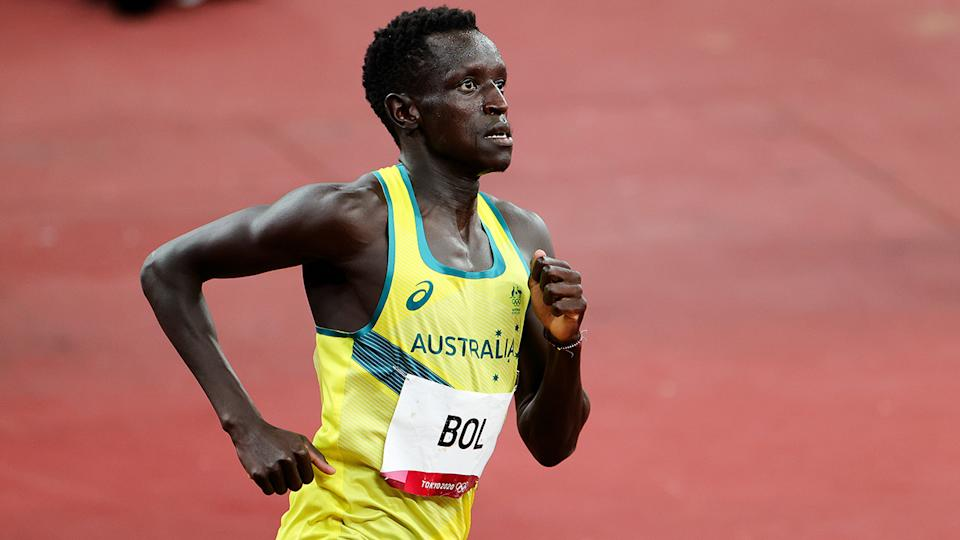 Peter Bol, pictured here in action during the 800m final at the Olympics.