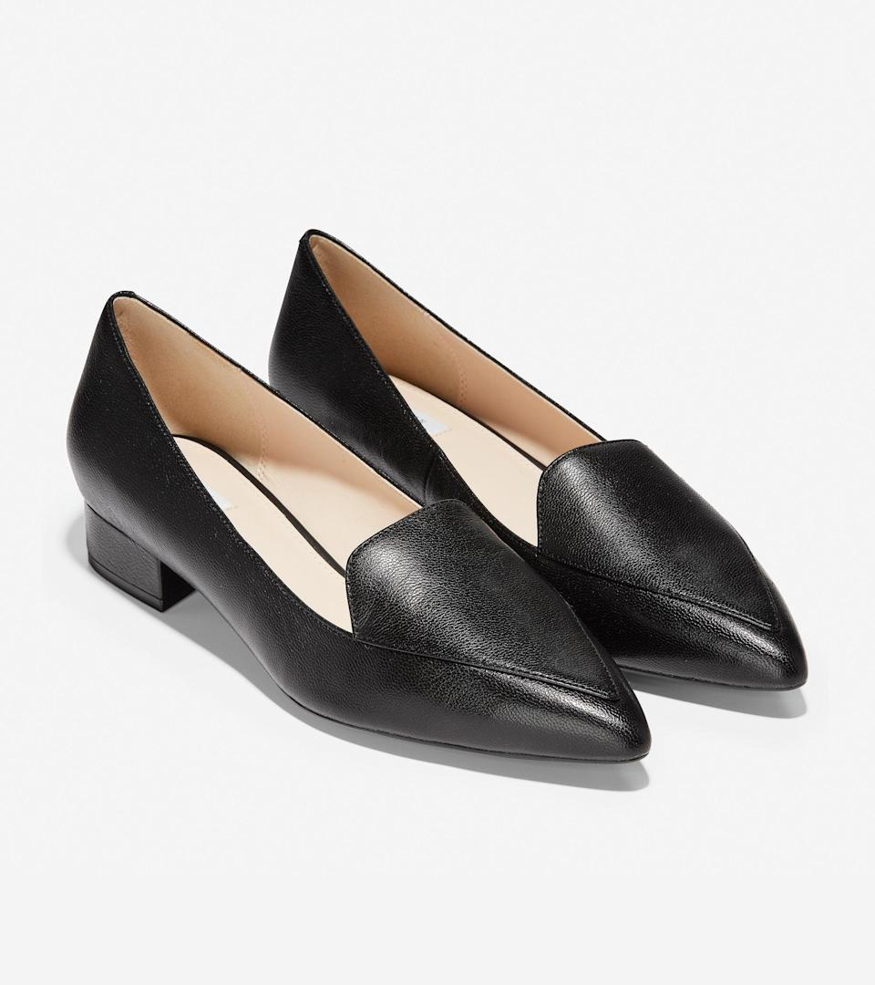 """<br><br><strong>Cole Haan</strong> Dellora Skimmer, $, available at <a href=""""https://go.skimresources.com/?id=30283X879131&url=https%3A%2F%2Fwww.colehaan.com%2Fdellora-skimmer-black-leather%2FW15984.html"""" rel=""""nofollow noopener"""" target=""""_blank"""" data-ylk=""""slk:Cole Haan"""" class=""""link rapid-noclick-resp"""">Cole Haan</a>"""
