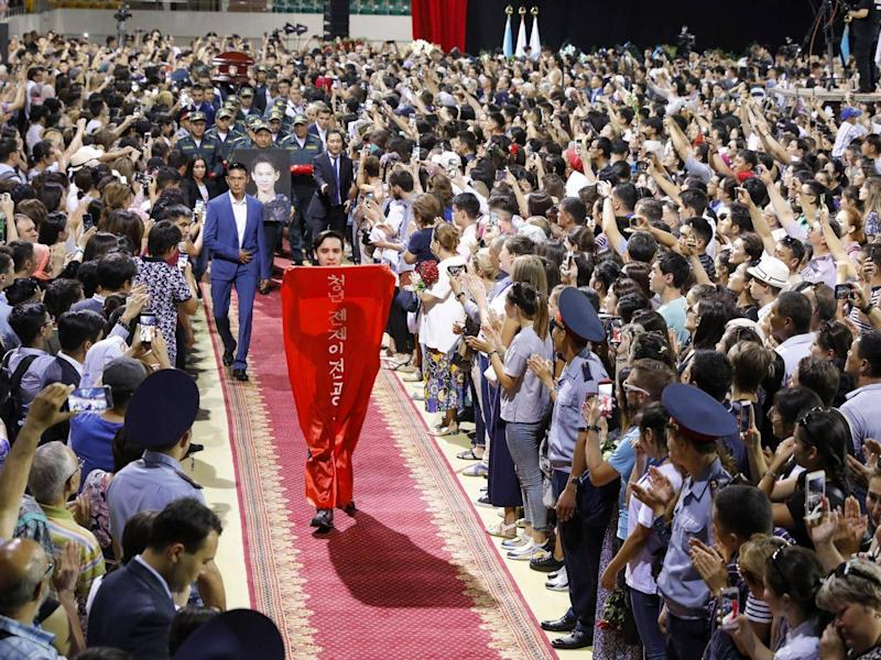 Thousands filled the Baluan Sholak Sports Palace for Ten's funeral in Almaty (Tass)