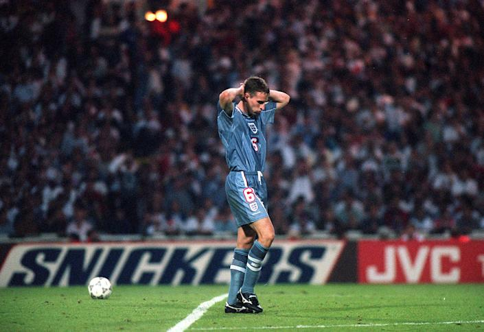 Gareth Southgate dejected after failing to score in the penalty shoot out which ended England's chances in the Euro '96 semi-final match against Germany at Wembley.   (Photo by PA Images via Getty Images)