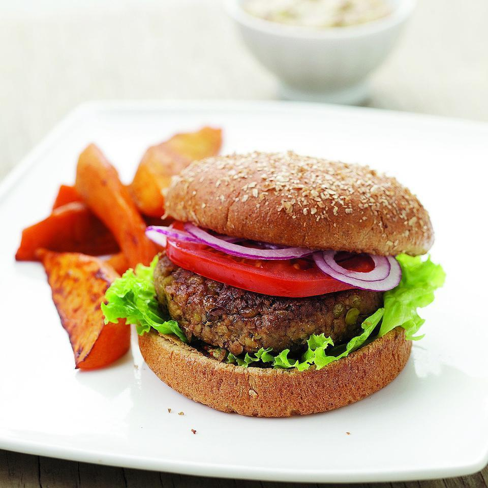 "<p>Walnuts and fresh marjoram accent these vegan lentil burgers. Substitute oregano for marjoram if you like. Serve with a smear of whole-grain mustard and roasted sweet potato wedges. <a href=""http://www.eatingwell.com/recipe/250341/lentil-burgers/"" rel=""nofollow noopener"" target=""_blank"" data-ylk=""slk:View recipe"" class=""link rapid-noclick-resp""> View recipe </a></p>"