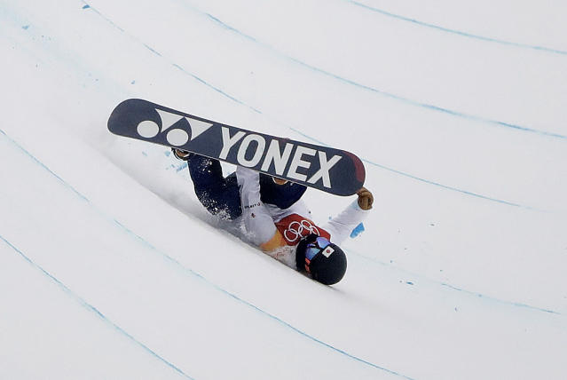 <p>Yuto Totsuka, of Japan, crashes during the men's halfpipe finals at Phoenix Snow Park at the 2018 Winter Olympics in Pyeongchang, South Korea, Wednesday, Feb. 14, 2018. (AP Photo/Gregory Bull) </p>