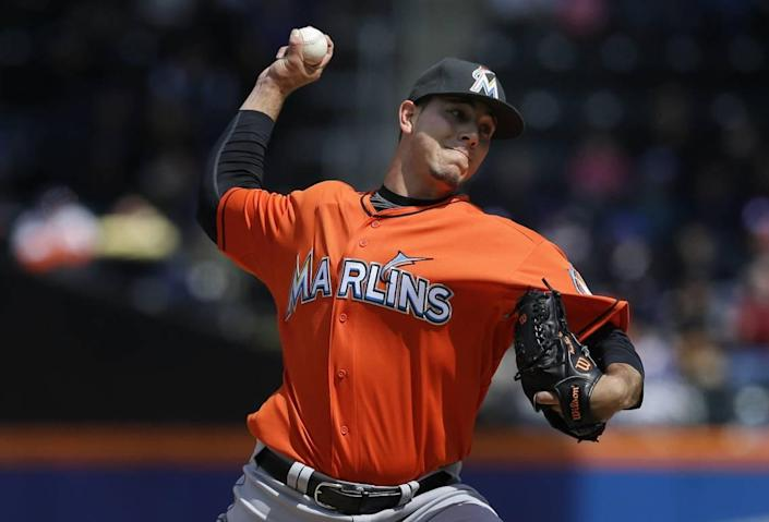 Miami Marlins starting pitcher Jose Fernandez pitches during the first inning of the baseball game against the New York Mets at Citi Field on Sunday, April 7, 2013, in New York.