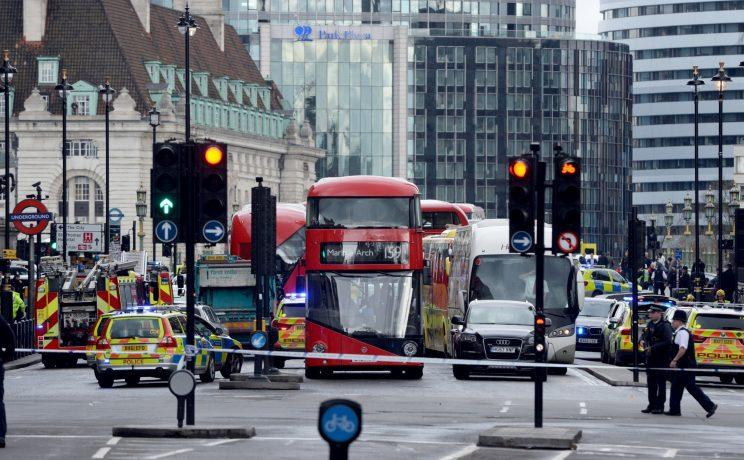 Police close to the Palace of Westminster, London, after sounds similar to gunfire were heard close to the Palace of Westminster.