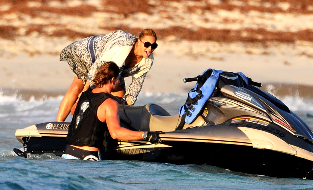After lounging on the beach, Beyoncé was feeling the need for speed and headed off on a jet ski adventure. (4/9/2012)
