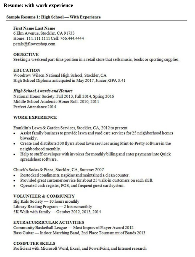 An example of a resume for someone with work experience. (Photo: Financial Fitness)