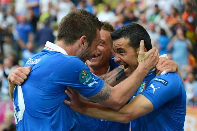GDANSK, POLAND - JUNE 10: Antonio Di Natale of Italy celebrates scoring their first goal with Antonio Cassano during the UEFA EURO 2012 group C match between Spain and Italy at The Municipal Stadium on June 10, 2012 in Gdansk, Poland. (Photo by Shaun Botterill/Getty Images)