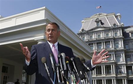 Speaker of the House John Boehner speaks after meeting with U.S. President Obama in Washington