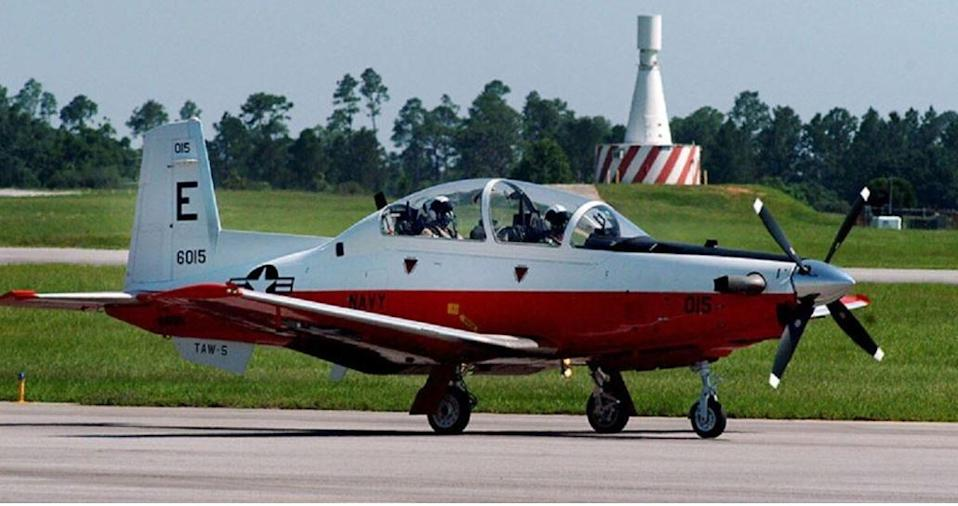 A Navy photo shows a T-6B Texan II aircraft taxiing at Naval Air Station Whiting Field.