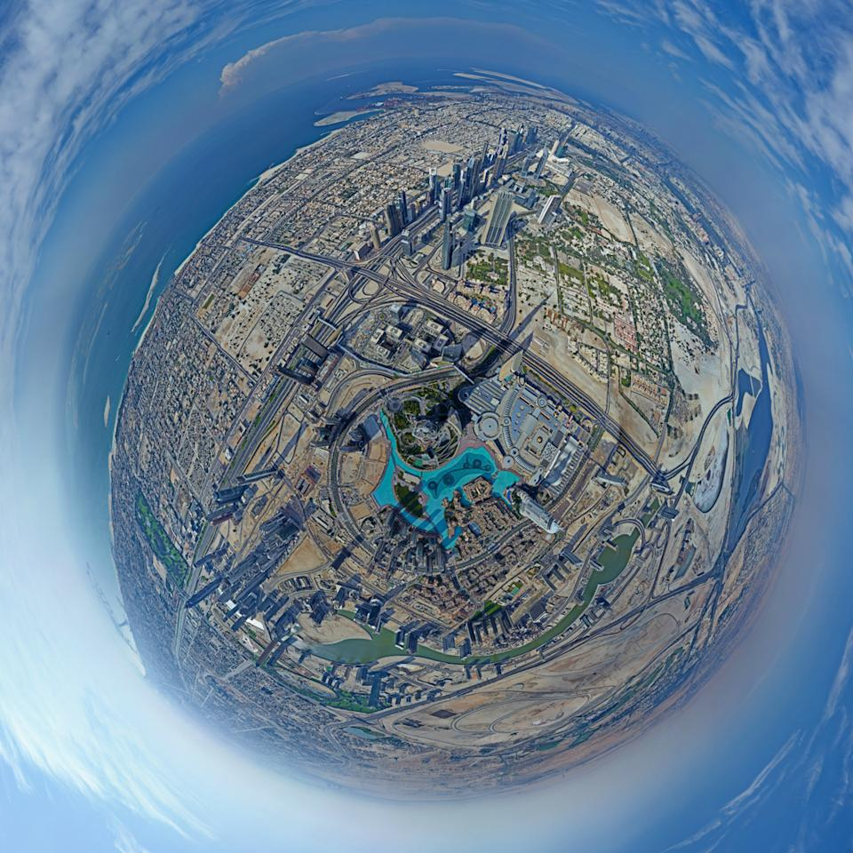 This panoramic image taken by photographer Gerald Donovan shows the stunning view from the top of Burj Khalifa