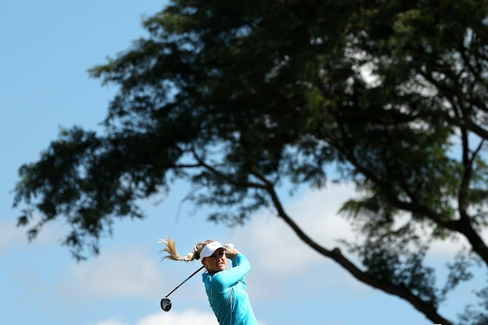 English golfer Charley Hull plays a shot for Team Europe ahead of The Solheim Cup at Inverness Club in Toledo, Ohio.