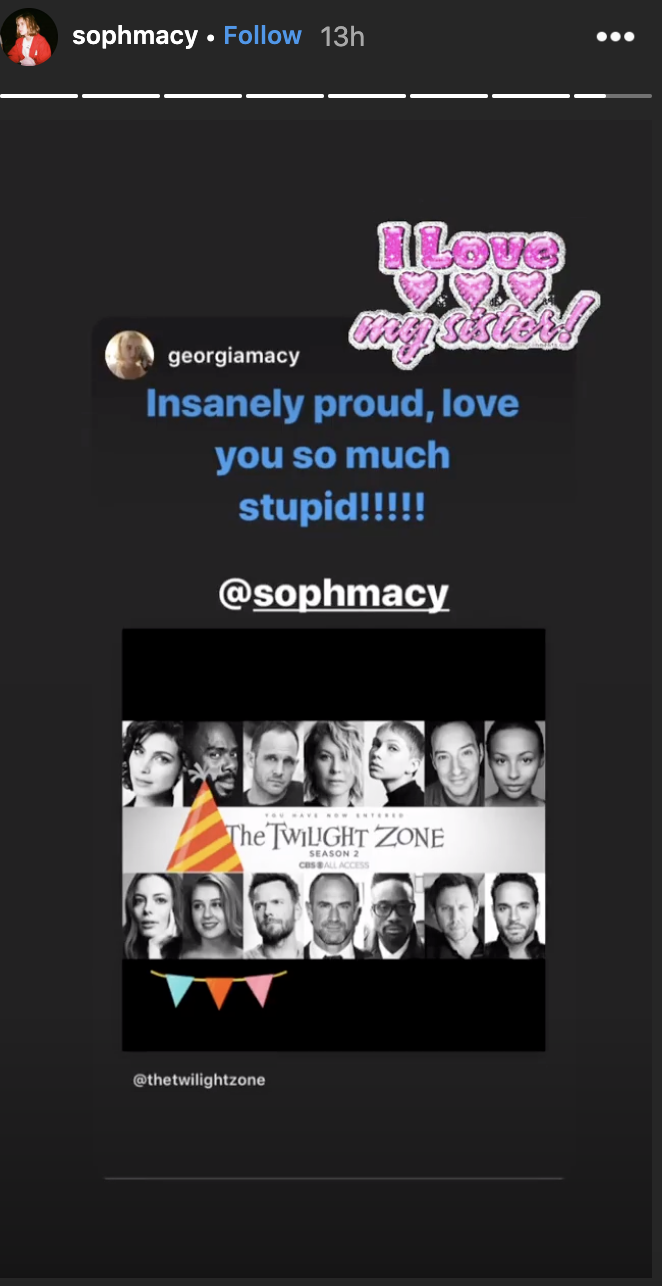 "Sophia Macy was congratulated by her younger sister, Georgia. ""Insanely proud,"" she wrote. ""Love you so much stupid."" (Screenshot: Sophia Macy via Instagram)"