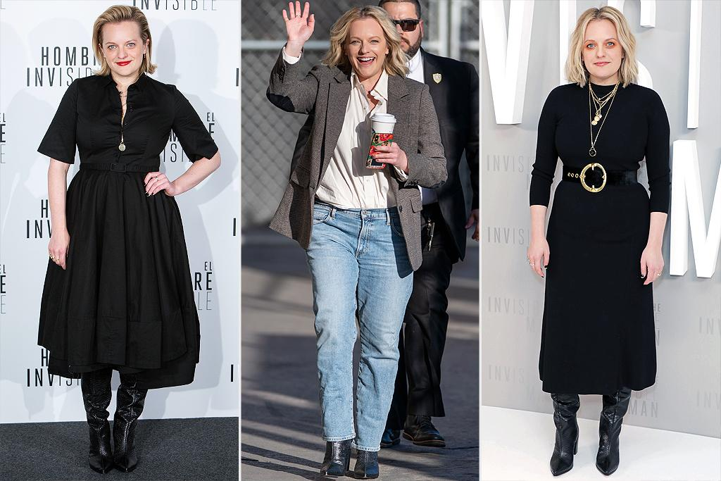 """<p>Throughout her <em>Invisible</em> press tour, Elisabeth Moss counted on one thing to keep her on her feet: these <a href=""""https://click.linksynergy.com/deeplink?id=93xLBvPhAeE&mid=43056&murl=https%3A%2F%2Fschutz-shoes.com%2Fproducts%2Fanaleah-f19-mid-heel-boot-crocodile-embossed-leather%3Fcolor%3Dwhite&u1=PEO%2CIReallyLoveMy%3APriyankaChopra%27sFavoriteEarrings%26More%21%2Ckratofilc%2CSty%2CGal%2C6007248%2C202003%2CI"""" target=""""_blank"""" rel=""""nofollow"""">Schutz pointy-toe heeled boots</a>.</p><p><strong>Look for Less:</strong> Bleeker & Bond """"Lyla"""" Boot, $79.98; <a href=""""https://www.dsw.com/en/us/product/bleecker-and-bond-lyla-boot/460078?activeColor=001"""">dsw.com</a></p>"""