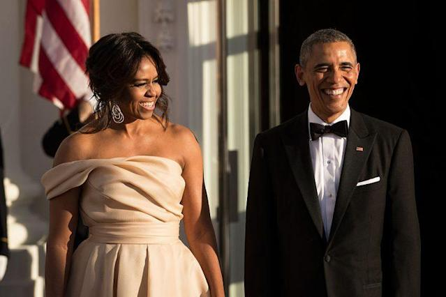 Michelle Obama in Naeem Khan at a Nordic state dinner (Photo: Getty Images)