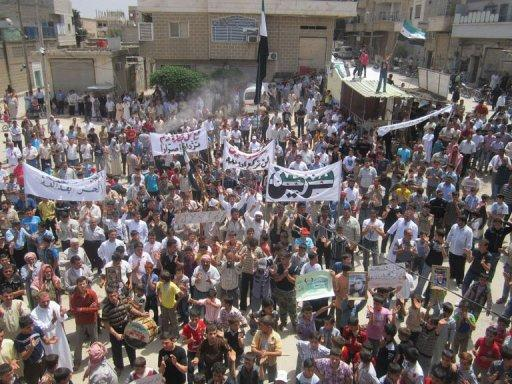 An anti-regime demonstration in Sermin