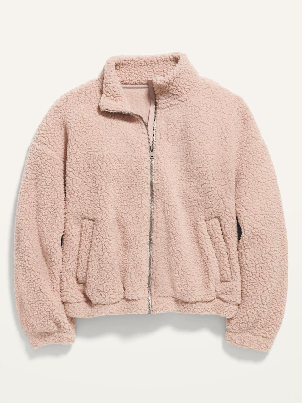 <p>Pink-lovers will go crazy over this <span>Cropped Mock-Neck Sherpa Jacket</span> ($30, originally $35).</p>