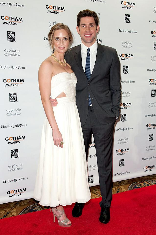 NEW YORK, NY - NOVEMBER 26:  Emily Blunt (L) and John Krasinski attend the 22nd annual Gotham Independent Film awards at Cipriani, Wall Street on November 26, 2012 in New York City.  (Photo by D Dipasupil/FilmMagic)