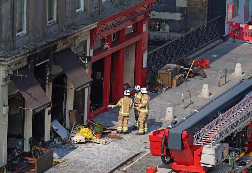 Firefighters remain at the scene of the blaze in Edinburgh (Andrew Milligan/PA) (PA Wire)