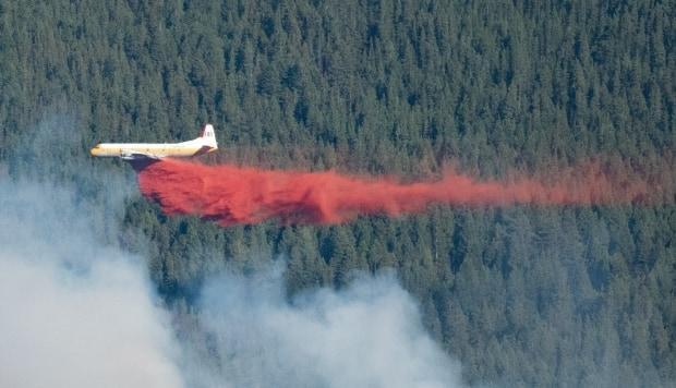 Aaron Salus captured this shot of a water bomber working to put out a large fire along Highway 1 east of Dead Man's Flats, Alta. (Submitted by Aaron Salus - image credit)