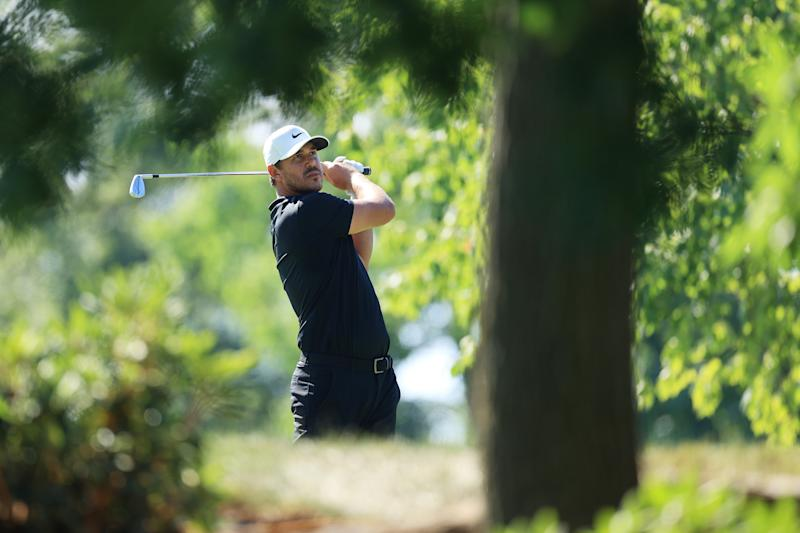 Brooks Koepka plays his shot from the 12th tee during the third round of The Memorial Tournament on July 18, 2020, at Muirfield Village Golf Club in Dublin, Ohio.