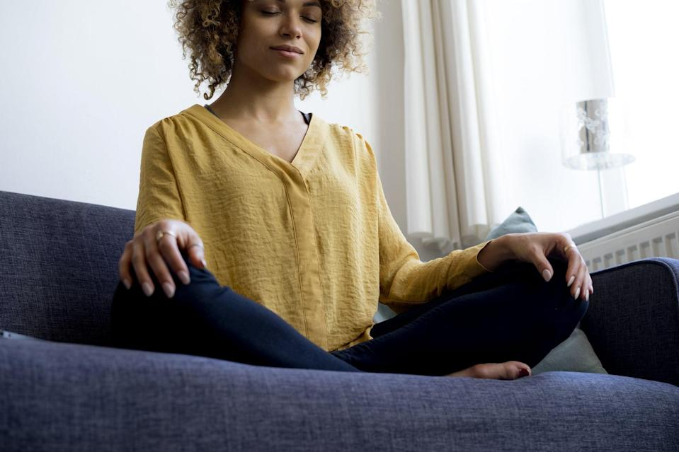 """<p>Breathwork isn't as intimidating as it sounds! Today, take 10 deep breaths and recite an uplifting phrase or intention to start your day. """"The combo will help you to achieve calm in the morning,"""" Dr. Ho said. """"Feel free to repeat as needed during a busy day."""" (If you want to try a different form of breathwork, try this <a href=""""https://www.popsugar.com/fitness/how-to-focus-on-your-breath-47402084"""" class=""""link rapid-noclick-resp"""" rel=""""nofollow noopener"""" target=""""_blank"""" data-ylk=""""slk:gentle technique"""">gentle technique</a>, and for more guidance, check out these <a href=""""https://www.popsugar.com/fitness/beginner-breathwork-tips-47726842"""" class=""""link rapid-noclick-resp"""" rel=""""nofollow noopener"""" target=""""_blank"""" data-ylk=""""slk:tips for beginners"""">tips for beginners</a>.)</p>"""