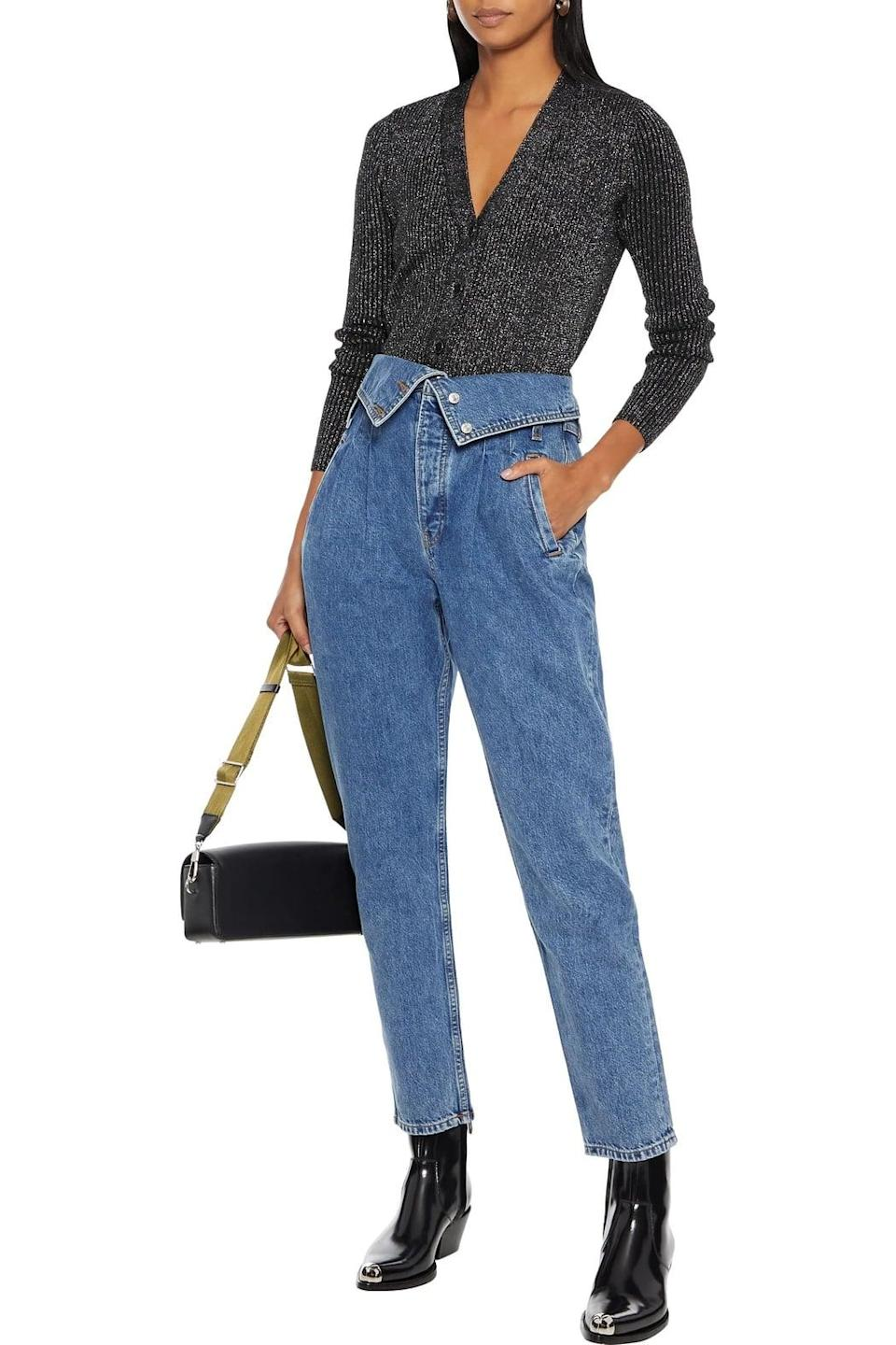<p><span>RE/DONE Mid Denim '80s Fold-Over High Rise Tapered Jean</span> ($190, originally $426)</p>