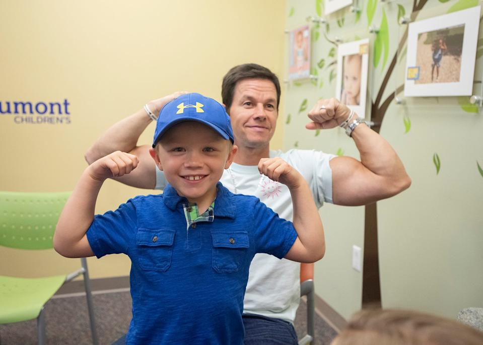 Actor Mark Wahlberg and cancer patient Hudson Brown compared muscles at Royal Oak Beaumont Hospital during a 2019 visit.  Wahlberg also brought Hudson several Transformer toys from Director Michael Bay.  Hudson's favorite is Bumble Bee.