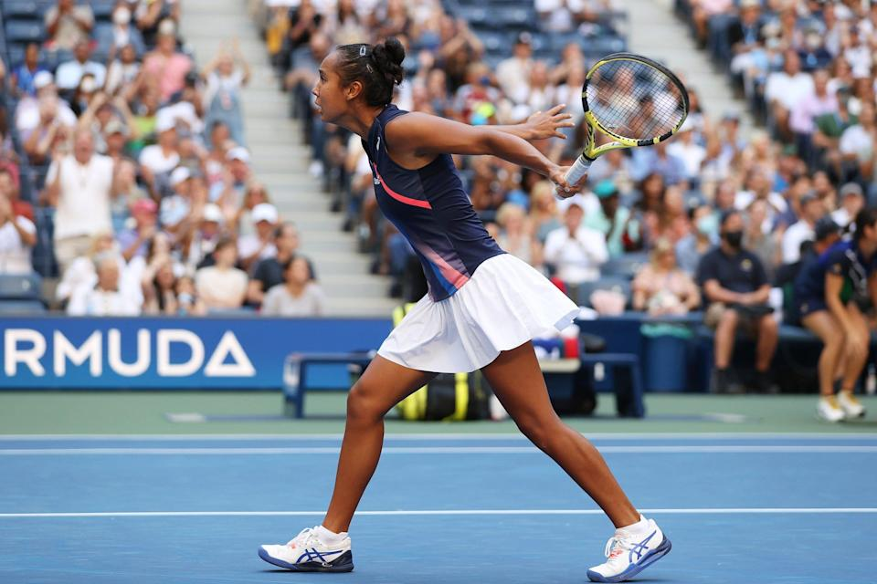 Leylah Fernandez reacts during a US Open match.