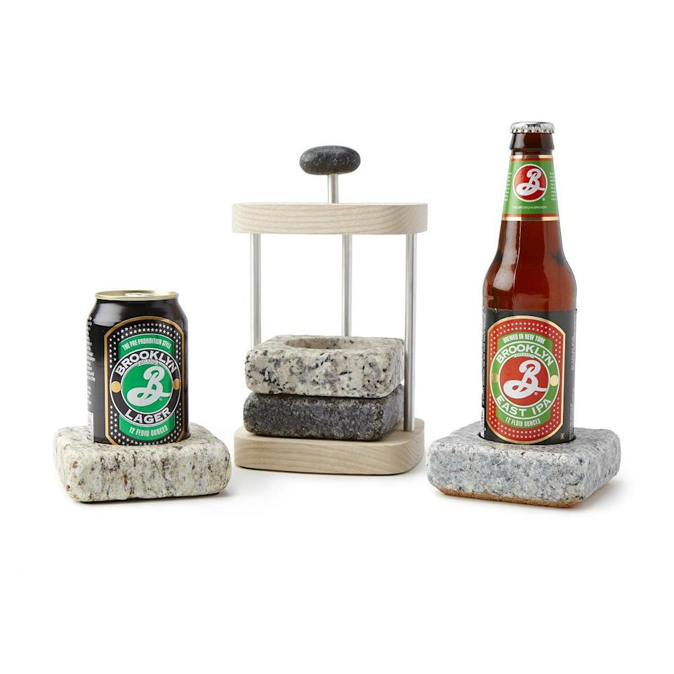 <p>He can say farewell to room temperature brews when he has these much-needed <span>Beer Chilling Coasters</span> ($35-$45).</p>