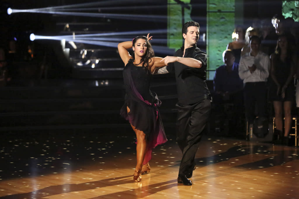 "Alexandra Raisman and Mark Ballas perform on ""Dancing With the Stars."""