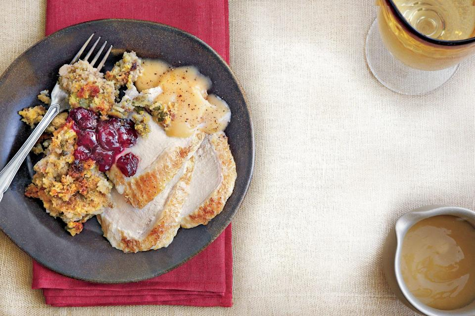 """<p><strong>Recipe:</strong> <a href=""""https://www.southernliving.com/syndication/turkey-breast-herb-cornbread-stuffing"""" rel=""""nofollow noopener"""" target=""""_blank"""" data-ylk=""""slk:Turkey Breast and Herb-Cornbread Stuffing"""" class=""""link rapid-noclick-resp""""><strong>Turkey Breast and Herb-Cornbread Stuffing</strong></a></p> <p>This comforting slow cooker dish is perfect for Thanksgiving or an easy supper. </p>"""