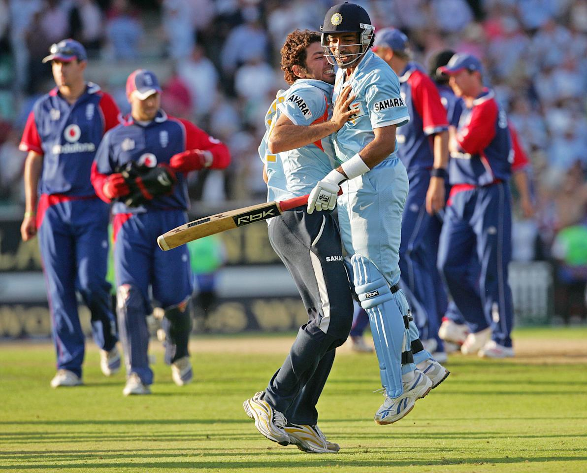 Owais Shah's 95-ball 107* and important contributions by Luke Wright and Dimitri Mascarenhas saw England rack up 316-6 in their 50 overs at The Oval on 5 September 2007. Sourav Ganguly and Sachin Tendulkar added 150 runs for the first wicket before both were out in quick succession; and though the visitors were 234-5 in the 41st over; Robin Uthappa played a blinder to take them over the line with only two balls left in the match.  Brief Scores: England 316-6 (Owais Shah 107*, Kevin Pietersen 53, Luke Wright 50, Zaheer Khan 1-43) LOst to India 317-8 in 49.4 overs (Sachin Tendulkar 94, Sourav Ganguly 53, Robin Uthappa 47*, Stuart Broad 2-46).