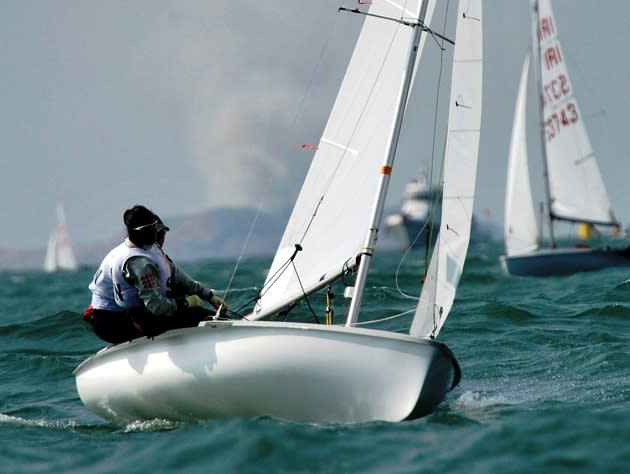 Singapore sailors Rachel Lee and Cecilia Low en route to gold in the Women's Double Handed Dinghy 420 at the 16th Asian Games in China, 2010. (Photo By Jin Dawei/ColorChinaPhoto)
