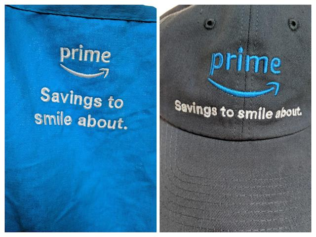 Whole Foods stores associates' new apron and hat, featuring Amazon Prime. (Yahoo Finance)